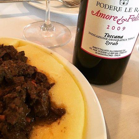 A spectacular combination.  Selvaggina con Polenta (polenta with wild game stew,and 2009 Toscana Syrah