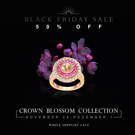 This Thanksgiving week, experience 50% off all Blossom pieces from Crown of Light!! This promotion will be in effect from November 24th-December 1st exclusively at Diamonds International.