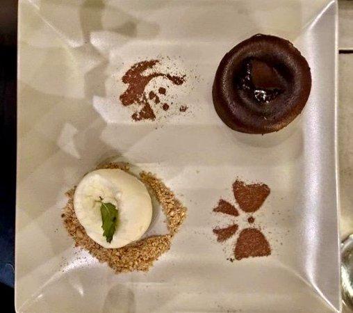 Chocolate Souffle with ice cream