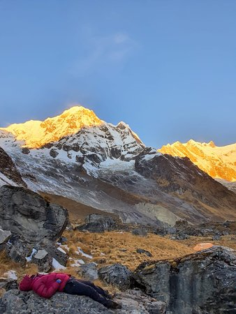Sunset view from Annapurna Base Camp 4130 m.