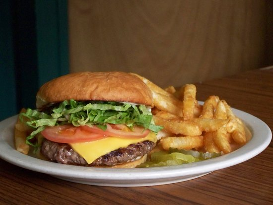 Plains, MT: cheeseburger on a fresh homemade bun with a side of crispy fries.