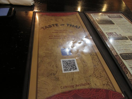 Menu With A Few Selection Picture Of Taste Of Thai Harrisonburg