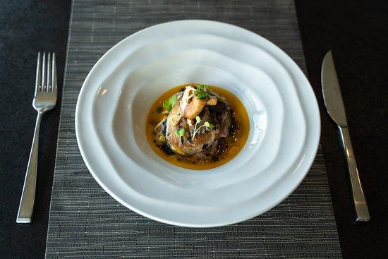 Duck - Red kuri squash bisque, parsnip rutabaga confit, black sesame ginger vinaigrette, crispy oyster mushroom, foie gras