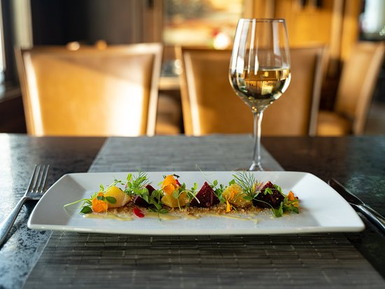 Beet Garden - Western Washington apple vinaigrette, Guinness stout almond soil, roasted red and gold beets, herbs, flowers and vegetable sprouts