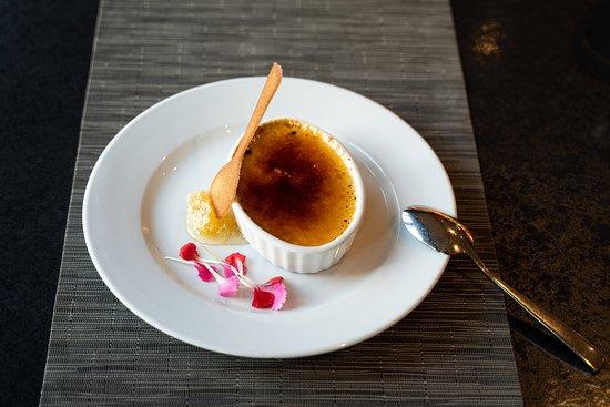 Crème Brulee - Mt. Baker fireweed honey crème brulee, honeycomb, cookie spoon