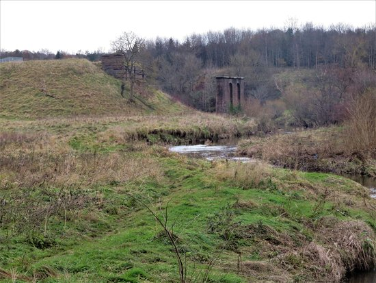 Tillicoultry, UK: Pillars of the old railway viaduct 