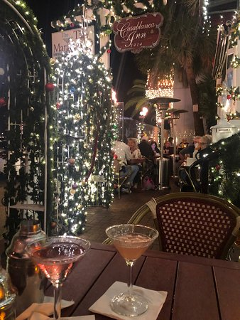 Outdoor seating area during the holidays