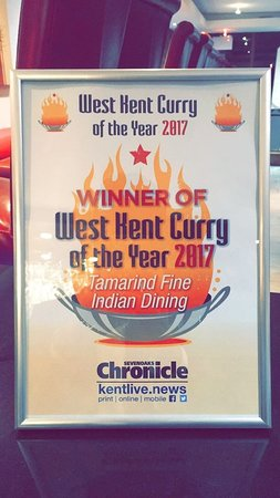 Tamarind was announced Winner of West Kent Curry of the Year Award!