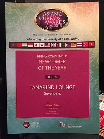 Tamarind Awarded the Best Newcomer of the year 2016