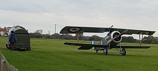 This was the plane and fuel bowser at Stow Maries in November. This plane later took off and was a wonderful sight.