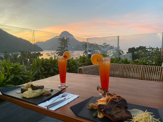 Shows the view from Scape Skydeck restaurant - El Nido restaurants