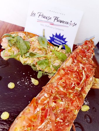 bruchetta de tartare de salmon  bruchetta de jamon iberico cortado