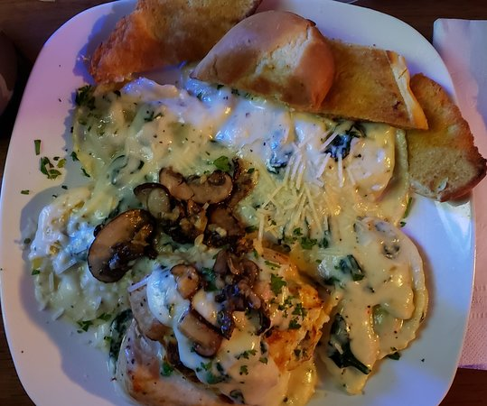 Breese, IL: Stuffed chicken with ravioli in garlic cream sauce