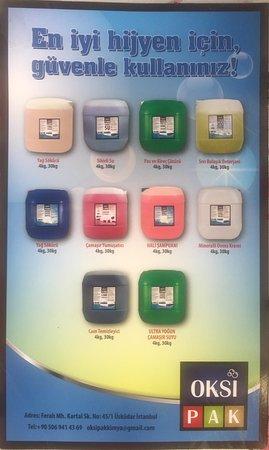 Uskudar Kapali Carsi: Bulaşık Makine Deterjan ve Parlatıcı, Sıvı El Sabun,  Bulaşık Deterjan, Yüzey Temizleyici, Pas ve Kireç Çözücü,  Yağ Sökücü,  Leke Sökücü,   Mavi Su,  Mineralli Ovma Kremi,  Halı Şampuanı,  Çamaşır Yumuşatıcısı, Çamaşır Suyu, Camsil, Köpük Sabun, Şampuan