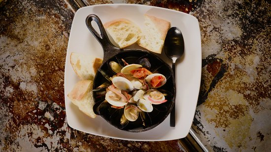 Mussels and Clams with white wine and chorizo