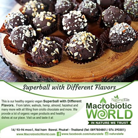 This is our new organic Vegan Superball with different flavors and Criollo chocolate filling.  We provide a lot of variants of organic products you can choose. Come and visit us!🌿 More info: www.macrobioticworld.com 🌿Instagram @naturalefe 🌿Facebook page: www.facebook.com/naturalefe 🌿Google My Business: Natural Efe Macrobiotic World _______ #ball #superfood #dish #organic #vegan #food #seeds #macrobioticworld #healthy #products #store #restaurant #tasty #veganfood #organicfood #phuket #thailand #