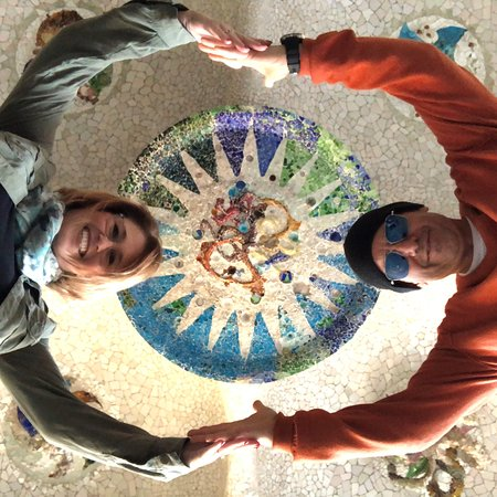 Quick fun shot at Park Guell -- compliments of Marta.  :)