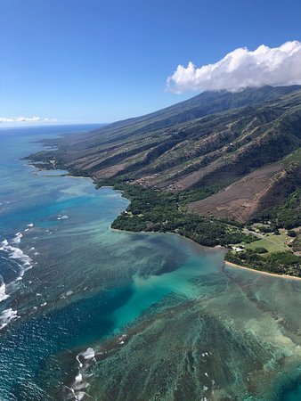 Flying over the reef off Molokai