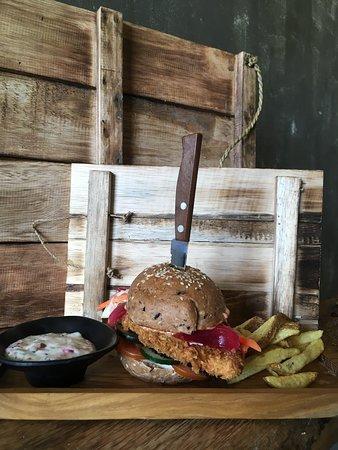 Schnitzelburger as its best. Homemade wholegrain burger bun, tzatziki, just yummy chicken breast....