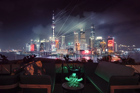 lounge terrace with nice bund view at night time