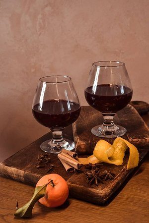 For the period coming up to Xmas, enjoy a glass of mulled wine with vegan red wine from an award winning local producer nearby mixed with peels, and herbs!