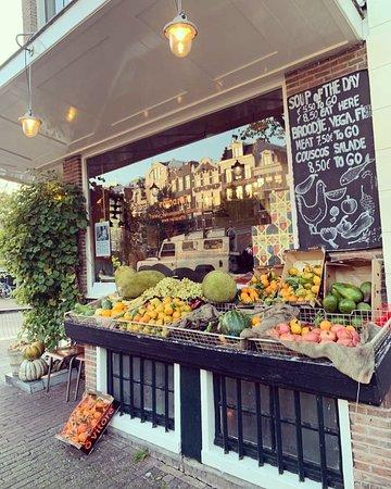 Our fresh seasonal produce outside Raïnaraï Prinsengracht