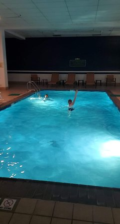 The pool was clean and had very generous open hours.  We swam at night!