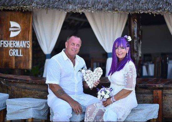 Our Wedding Vows renewal meal at Fisherman's Grill, Nuwungi, Zanzibar