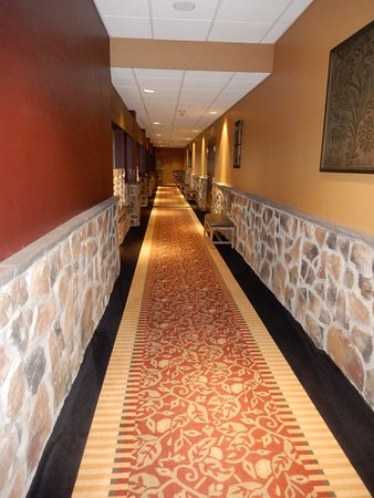 One of the hallways with faux stonework - yick
