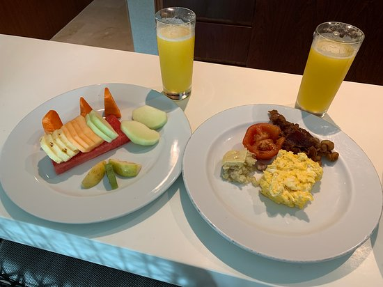 24 hour room service.  We used it a few times when we wanted a late night snack or a lazy breakfast.