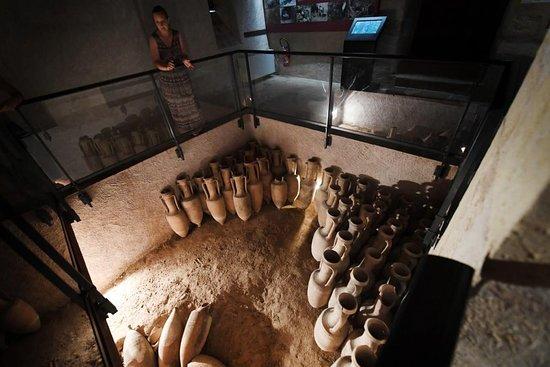 Musée Emile Chénon - Archéologie Gallo-Romaine. Vue 66. Responsable du Musée, Mme Sophie  LACAN, au-dessus de La Cave Reconstituée du Jardin Gallerand (Vue Réf. Pierrick Delobelle) Mediolanum.
