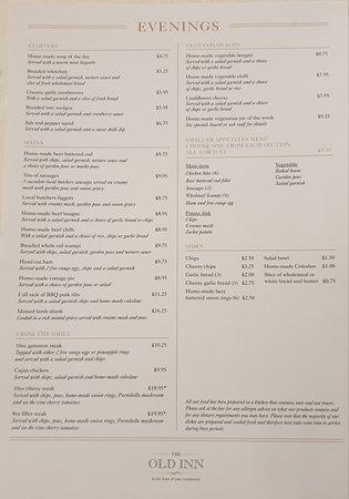 Our Evening menu