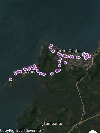 Percurso de bike em torno do hotel em direção a outras praias
