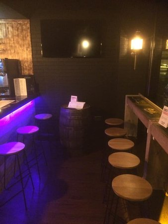 Seating in the bar area downstairs