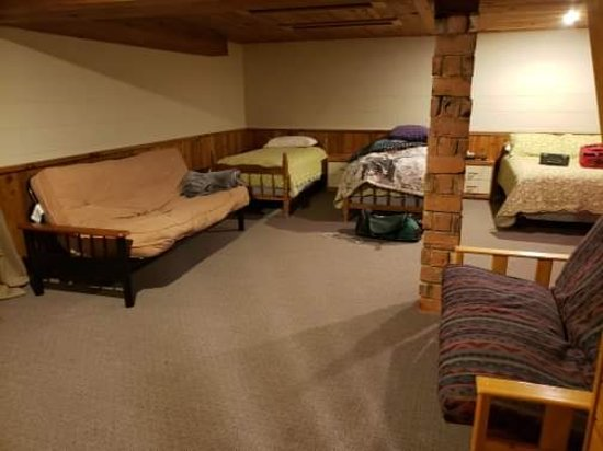 Basement area with extra beds. Cabin