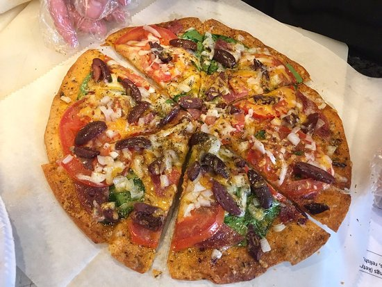 Our Lucie's creation flat bread Italian pizza