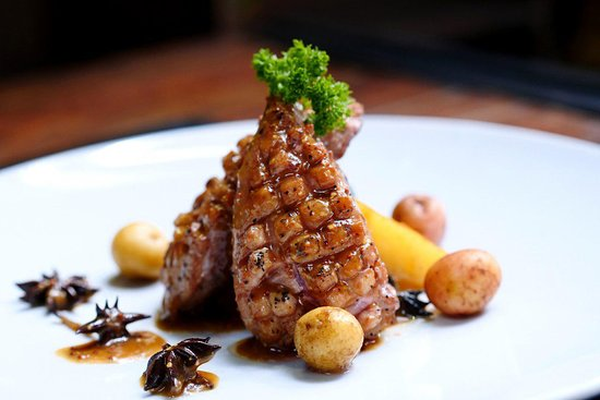 Grilled Duck Breast With Gastric Mustard Sauce