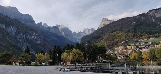 View of the mountains surrounding Lake Molveno