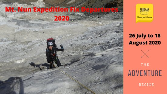 Mount Nun Fix Departure 2020   First Departure: 15 July - 07 August 2020. Second Departure: 26 July - 18 August 2020 Third Departure: 04 August - 27 August 2020  Price: USD  3200 Per  Person (For Foreigner) Price: INR    148500 Per Person (For Indians)   website www.shikhar.com   tours@shikhar.com (Whatsapp: +91 9560897784)