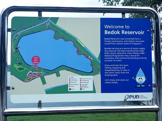 Signboard at the entrance to the park (from carpark side) showing the Bedok Reservoir