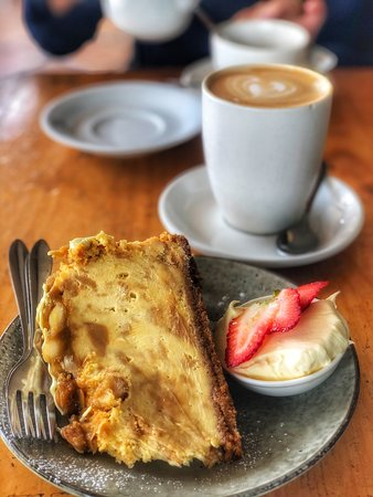 The salted caramel and macadamia cheesecake at Twisted Sista Bryon Bay.