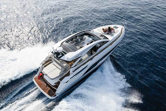 This is a true luxury sport motor cruiser from the highly respected British boat builders Fairline. Her handling in rough sea is fantastic. This boat offers luxury, comfort and performance.  13m Boat Accommodating up to 8 people plus the skipper Full or half day hire Full sun cover Sunbathing bed on aft Sunbathing cushions on the bow