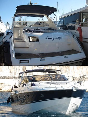 When you step aboard the Princess V50 you will see and feel the quality of a Princess Luxury boat. The heavy duty electronic passerelle / gang way will lead you in safety on to the V50. You will see a huge and comfortable sunbathing beach, leading to a large seating area and table for eight people. There is a fridge, freezer and ice maker for your comfort. At the bow of the boat there is another large sun bed. Below deck two private cabins, both with full en-suite facilities.