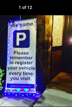 Car parking sign at the front door. Please remember to enter your registration within 10 minutes to avoid a fine. As during very busy times ( especially weekends ) staff can't remember to ask every person who enters. Thank you