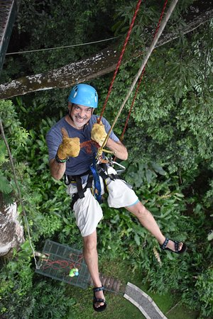 Rappelling from high in a tree.  No other way down.