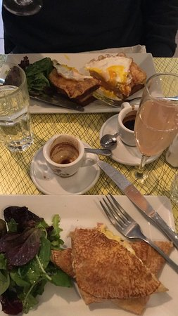 Croque Madame, savory egg, ham and swiss crepe, bellinis and espresso :)
