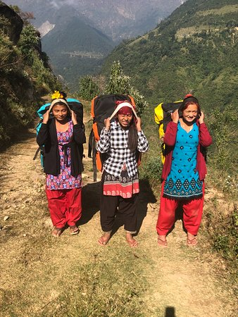Sasane Sisterhood Trekking and Travel : Three young women from a local village served as trek porters.