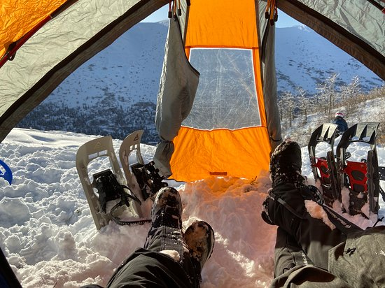 Anchorage, AK : We offer winter backpacking/basecamp adventures in the beautiful Alaskan back country. Spend the night listening to the austere, beautiful sounds of a winter's night snuggled in a warm sleeping bag and protected from the elements by a mountaineering base camp winter tent.