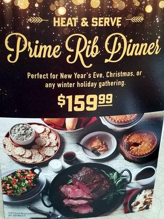 Holiday prime rib dinner