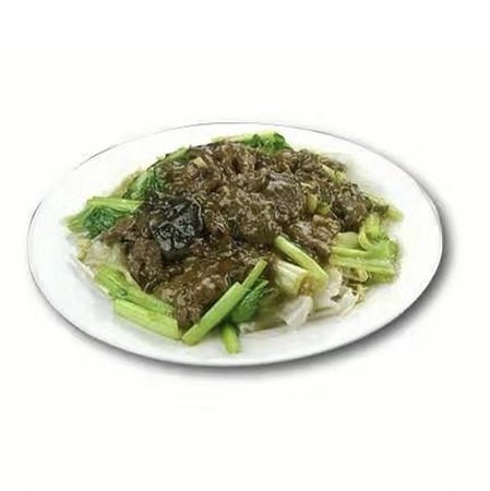 Beef Wet Hor Fun - Stir fried beef vegetables and flat thick rice noodles fried in special gravy.